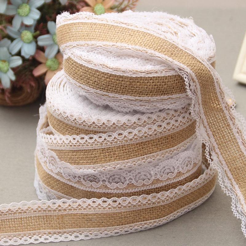 Rustic Wedding Ideas Using Burlap: 1 Roll Natural Jute Burlap Rolls Hessian Lace Ribbon With