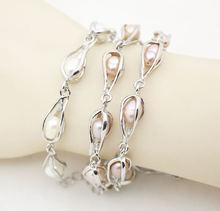 Металлический браслет ручной работы натуральный белый розовый
