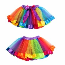 MUQGEW Newest Baby Girl Kids Petticoat Rainbow Pettiskirt Bowknot Skirt Tutu Skirts Hot Selling Wedding Dance Skirt W05