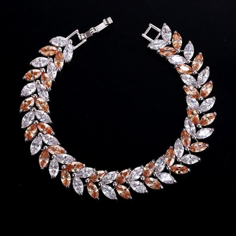 CC Bracelets For Women Luxury High Quality Leaf Design Female Bangle CZ Wedding Accessories Party Engagement Bride Jewelry S0044