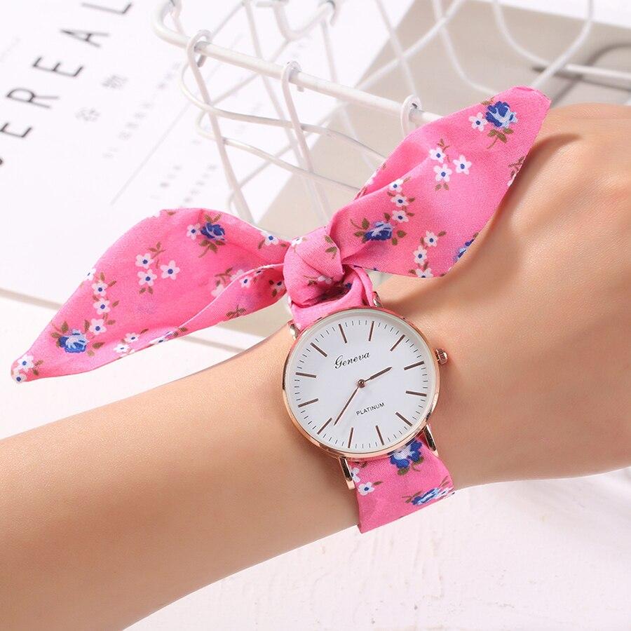 Montre Vogue Floral Strap Wristwatch Women's Jacquard Cloth Quartz Watch Geneva Bracelet Watches Relogio Feminino Dropshipping