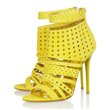 Women Charming Style Open Toe Yellow Leather Chunky Heel Sandal Ankle Strap High Sandals Hollow Evening Club Shoes TL-A0070