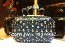 2013 fashion vintage rivet national flag punk skull hand-helds dinner small bags
