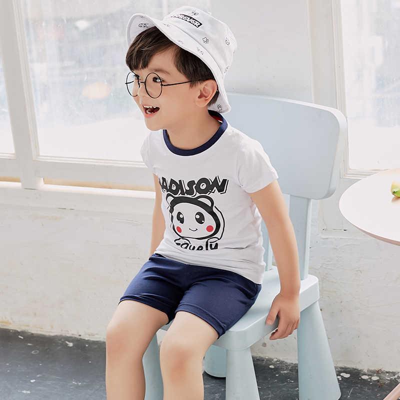 Bayi Laki-laki Musim Panas Set Pakaian Anak-anak Huruf Kaos + Celana Pendek 2 Pcs Laki-laki Pakaian Latihan Yg Hangat Kasual Anak-anak Olahraga Cocok untuk Anak Laki-laki musim Panas Pakaian