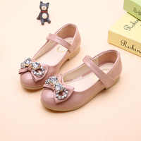 PDEP 2017 News Beautiful Bowtie Party Shoes For Kids Rhinestones Pink School Girls Leather Shoes With