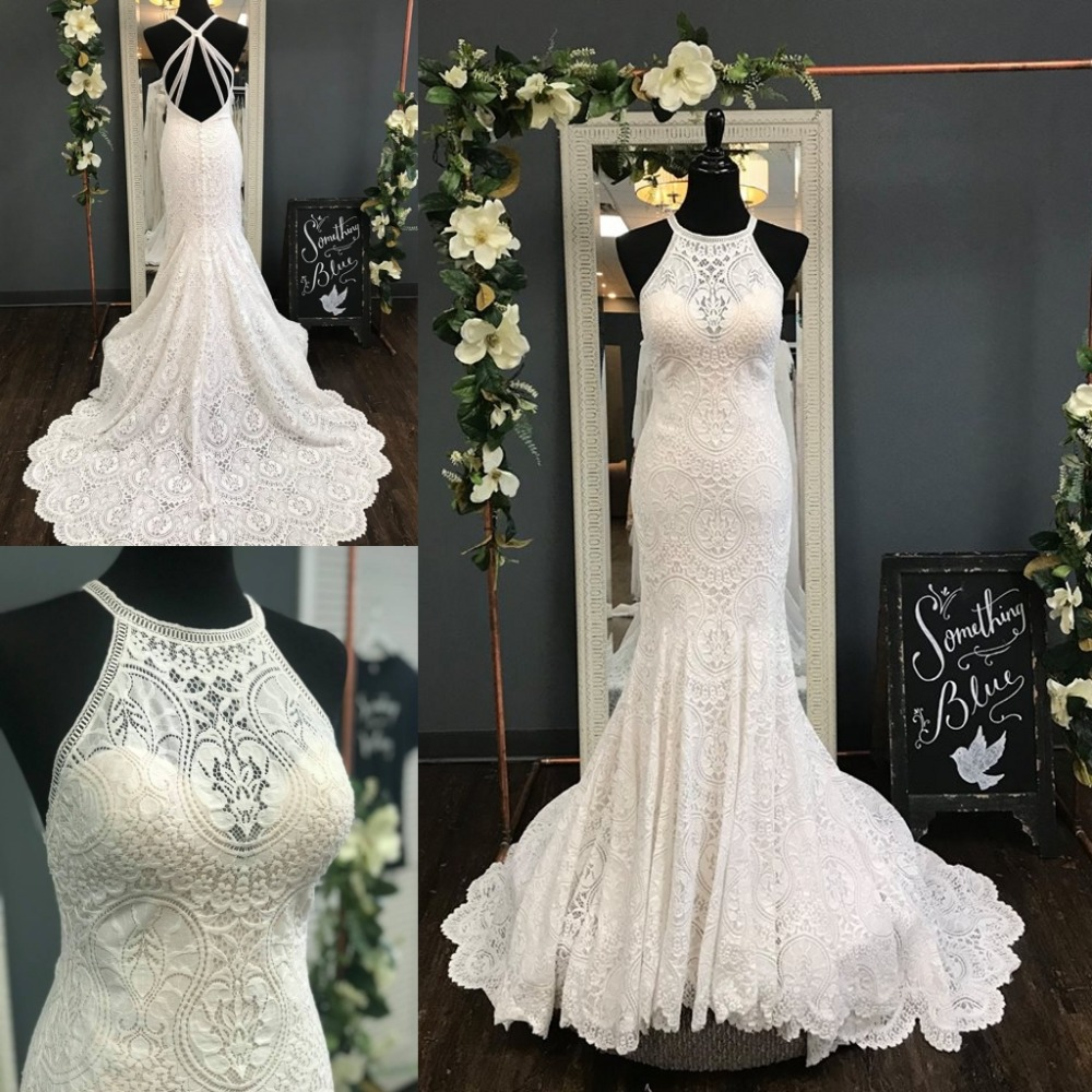 Sheath Wedding Dresses 2019: Fully Lace Wedding Dresses 2019 Sheath Court Train Halter