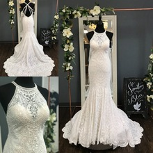 Fully Lace Wedding Dresses 2019 Sheath Court Train Halter