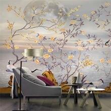 Пользовательские обои ручная роспись цветы и птицы диван гостиная