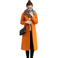 Winter Woolen Long Plain Coat Women Slim Fit Casual Cashmere Overcoat Womens Elegant Windbreaker Trench Coat
