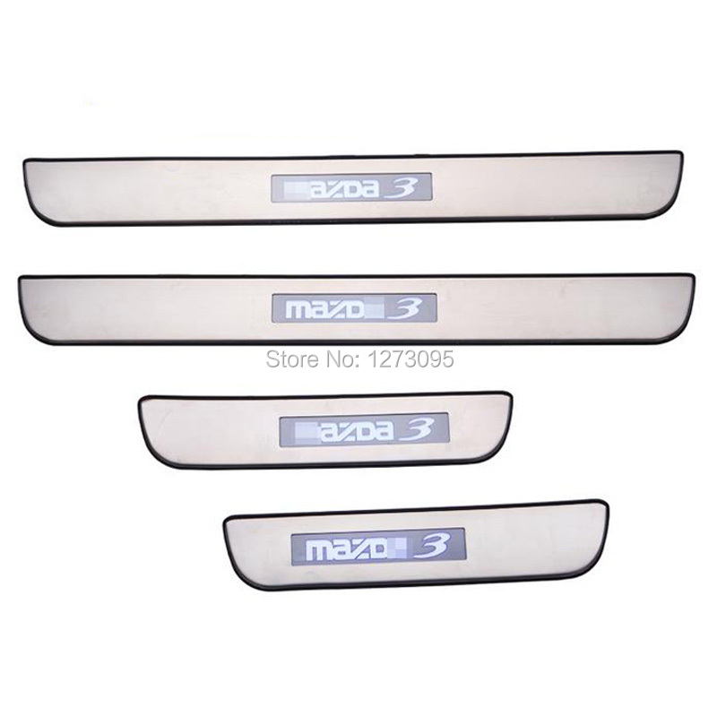 For 2008 2012 2013 mazda 3 stainless steel illuminated - Exterior door threshold replacement parts ...