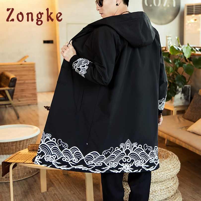 Zongke Style chinois imprimé coupe-vent veste hommes Long Streetwear à capuche Kimono veste hommes manteau Kimono hommes veste 2018 nouveau