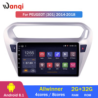 2G RAM 32G ROM Car Radio For peugeot 301 citroen elysee 2014 2018 Android 8.1 GPS Navigation Multimedia Player