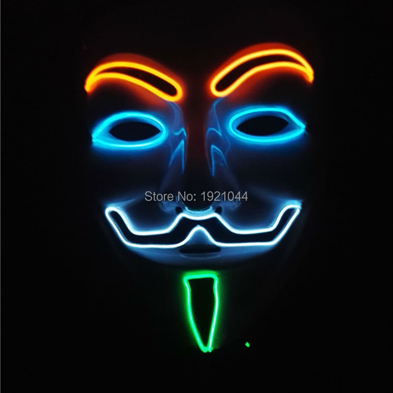 DC-3V Steady on Flashing Driver Four Color Glowing EL Wire Mask Bar Night Mask for Halloween Party Decoration