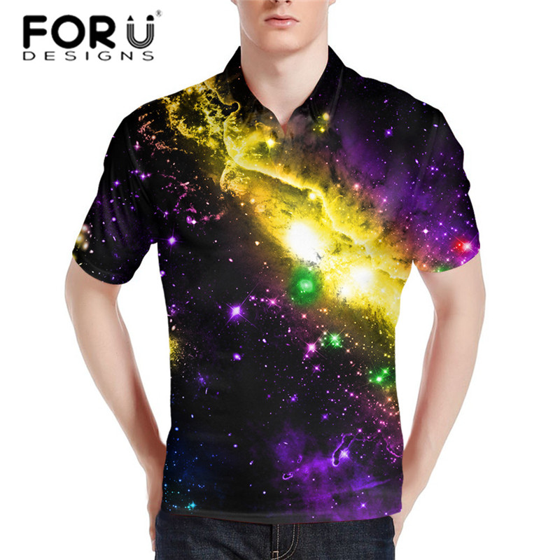 FORUDESIGNS Men's Galaxy Print   Polo   Shirt Casual Summer Short Sleeve Tee Male Breathable Loose Fit Tops XS S M L XL XXL XXXL