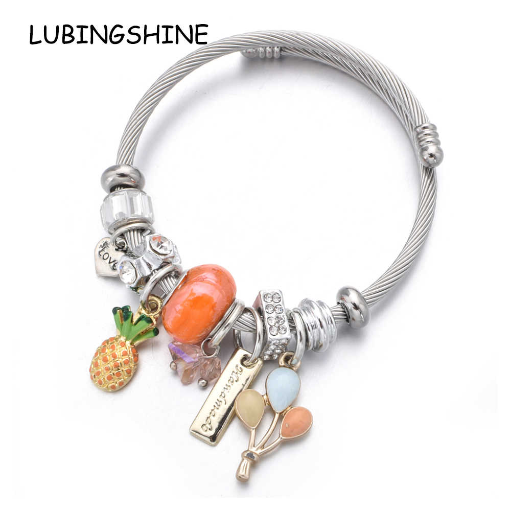 Women Stainless Steel Pineapple Heart Charms Bracelets Wire Cable Rhinestones Open Adjustable Cuff Bangles DIY Jewelry