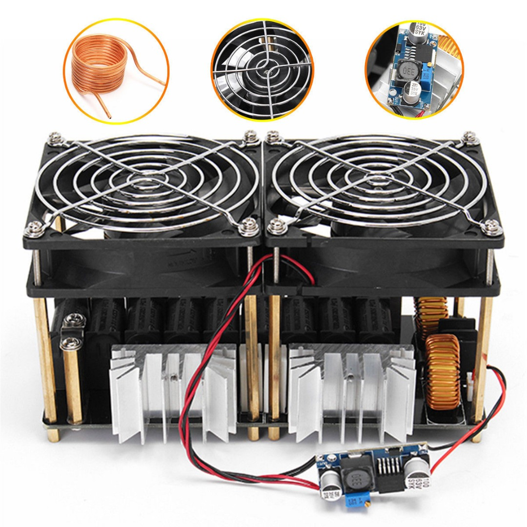 1800W ZVS Induction Heating PCB Board Module Flyback Driver Heater With Cooling Fan Interface + Copper Coil Mayitr dc12 36v 20a 1000w zvs induction heating module heater with cooling fan copper tube