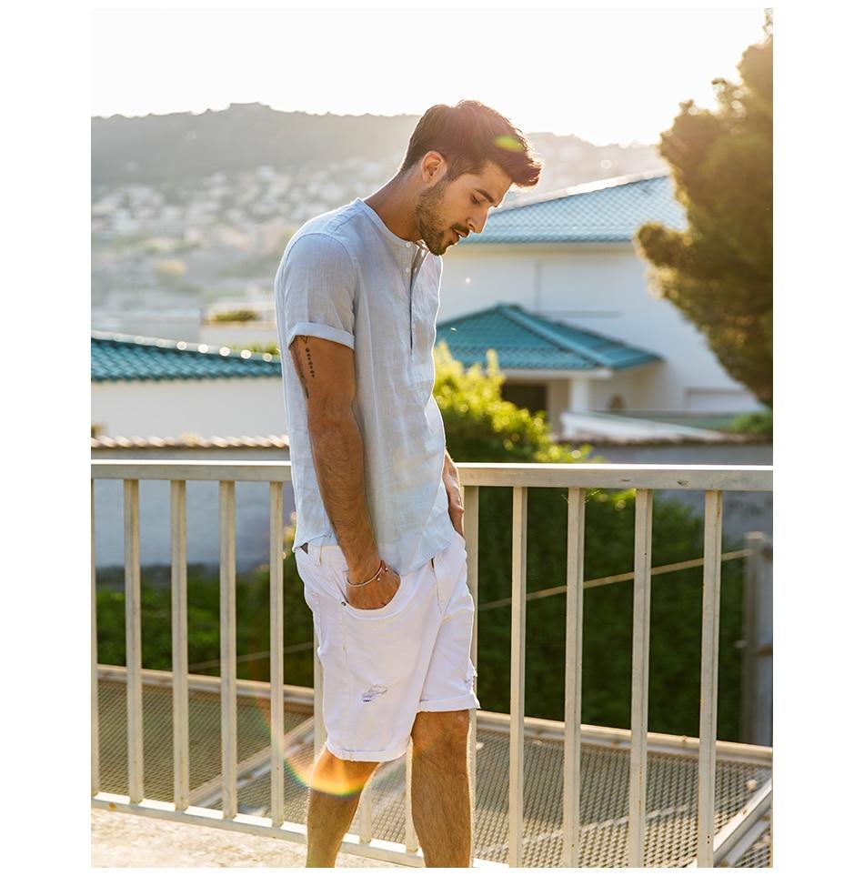 Simwood Short Sleeved 100% Linen White Solid Color Shirt for Men