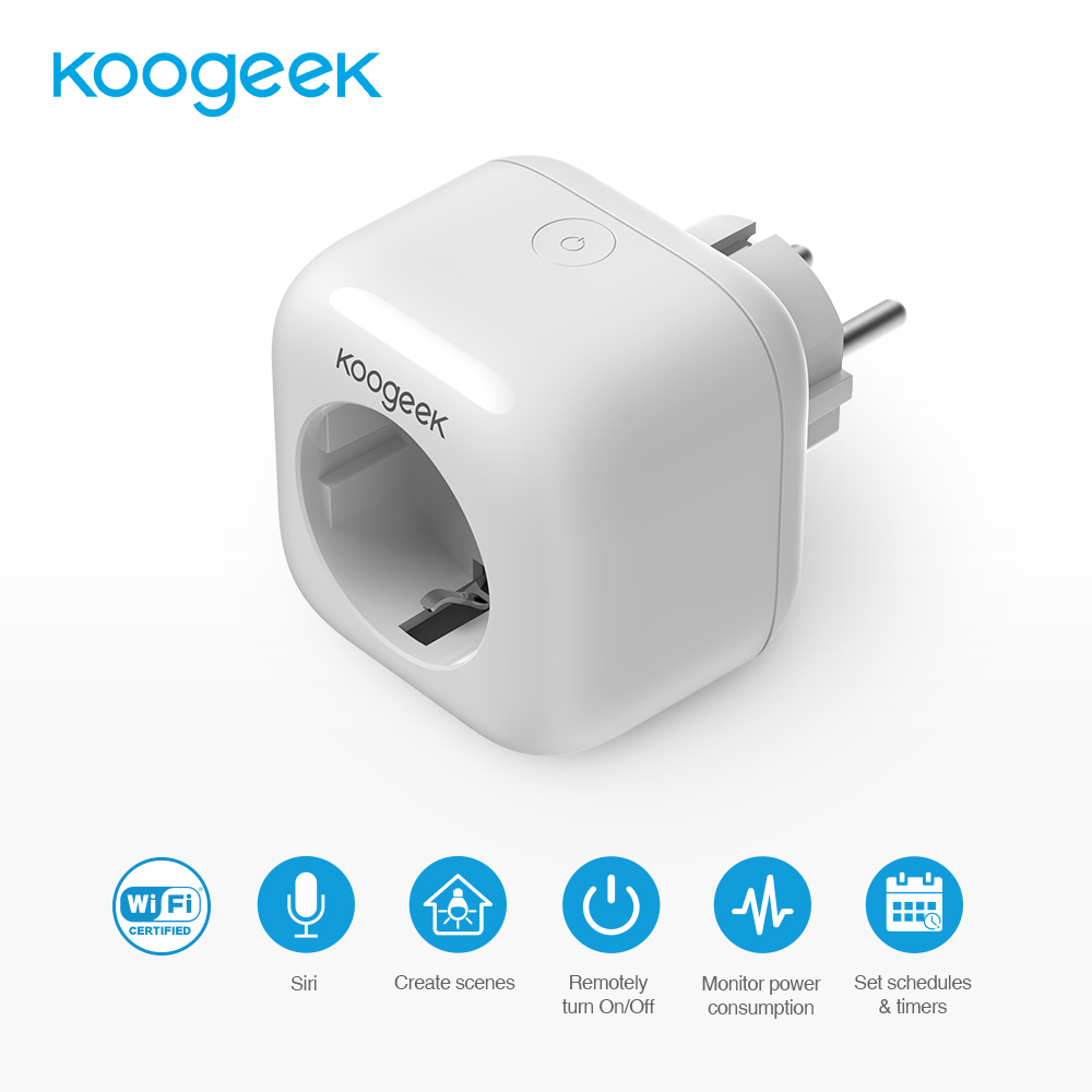 Koogeek Wi Fi Enabled Smart Plug Compatible with Alexa Work with Apple HomeKit Voice Control Smart