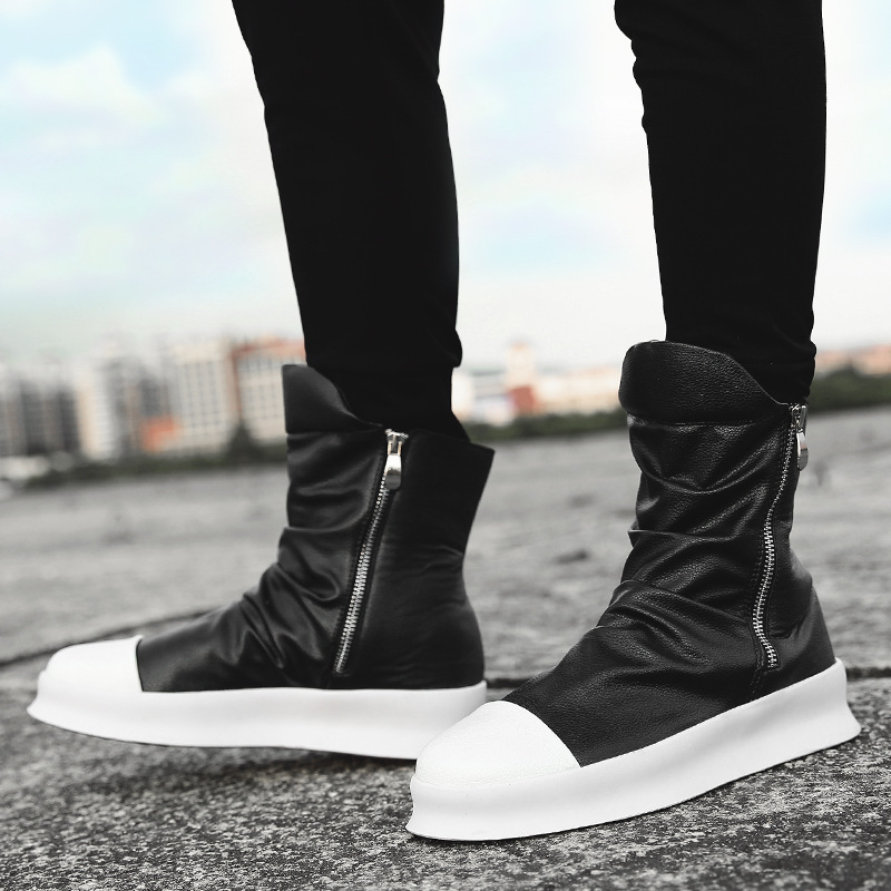 Men 8cm Height Increasing Platform Boots Back Zip Leather Shoes Male Mixed Colors Y3 High Top Black White Men's Boots yhn78