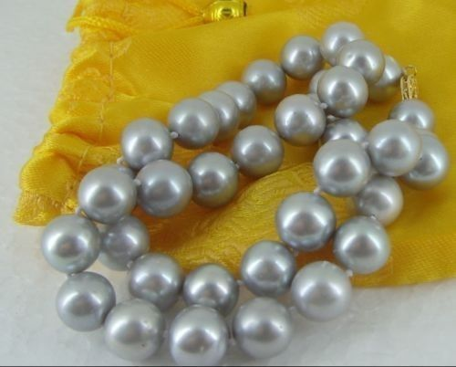10-11MM AUSTRALIAN freshwater SILVER GREY PEARL NECKLACE 925silver 18 INCHES