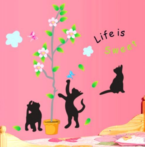 FD2467 Home Decor Craft Sticker Children Bedroom Wall DIY Sticker ~Black Cats~