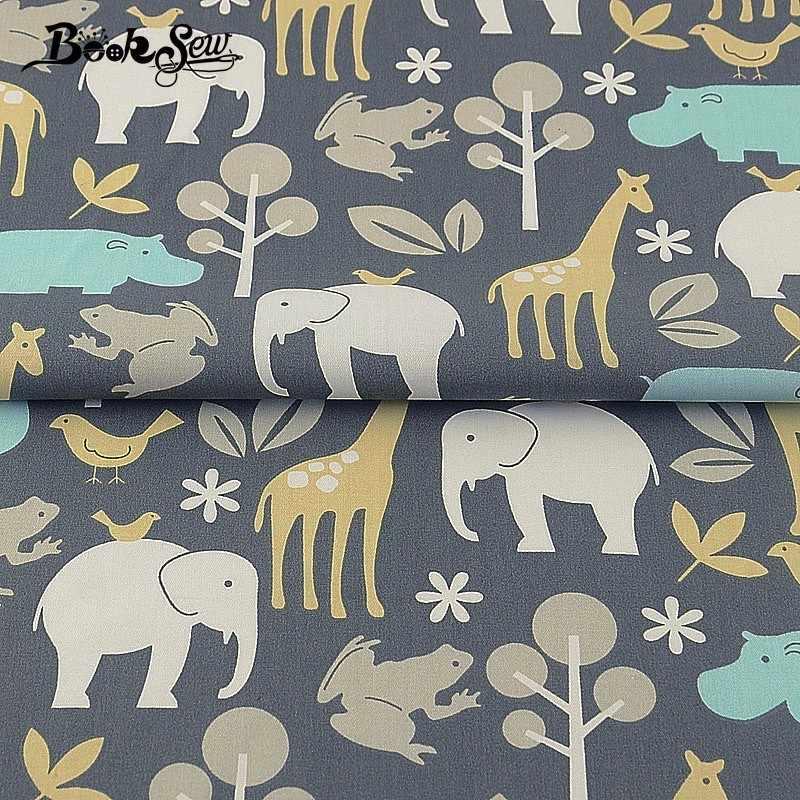 Booksew 100% algodón tela de costura Animal diseño de zoológico hogar textil ropa de cama Patchwork DIY muñeca artesanía grasa cuarto