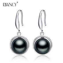 New fashion black Pearl Earrings Jewelry For Women Freshwater 925 sterling silver jewelry weddings gift