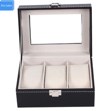Watch Box Small 3 Mens/Womens Black Leather Display Glass Top Jewelry Case Organizer  WBG1010 Xinlu Custom Package Special
