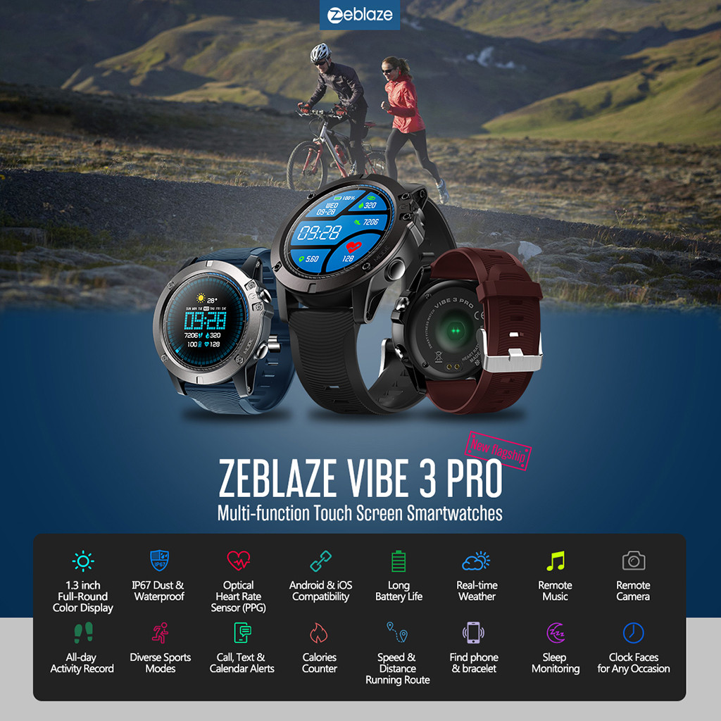 Zeblaze VIBE 3 PRO Smart Watch 1.3Inch Waterproof Sports Bracelet ForAndroid IOS Heart Rate Algorithm Sleep Monitor Remote Music