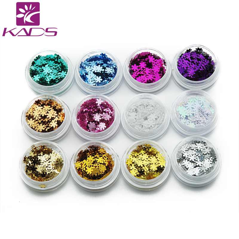 KADS 12pots/set Nail Glittter UV Gel Acrylic DIY Nail Art Decoration Snowflake Glitter Nail Art Sequins Powder Set 12boxes set 1g perfect cat eye effect magic mirror powder uv gel polish nail art magnet glitter pigment diy nail decoration