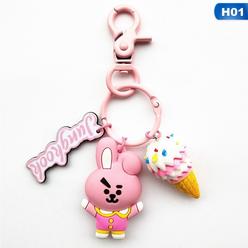 Kpop BTS BT21 Cartoon Car Keychain JIMIN Tata Acrylic Keyring Korean Fashion Key Holder Bag Pendant