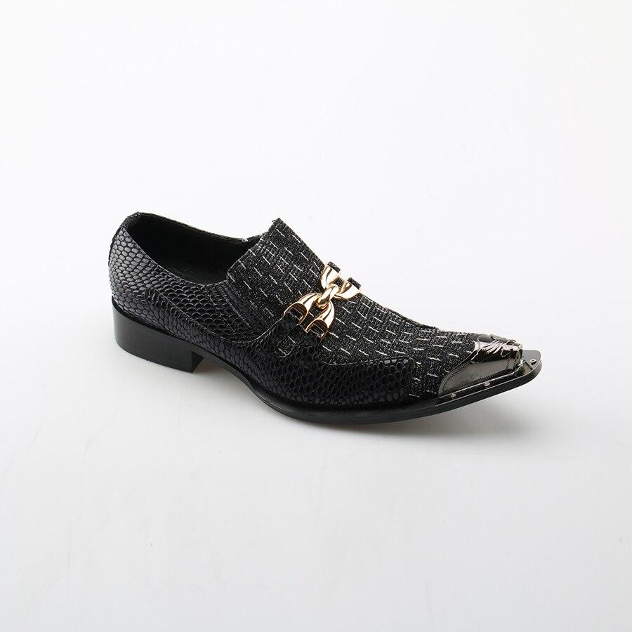 Genuíno Xadrez De Ouro Sapatos Apontou Casamento Metal Formais Ferrolho Homens Black Vestido Terno Negócios Couro Dos Toe Okhotcn qO4WBpnn