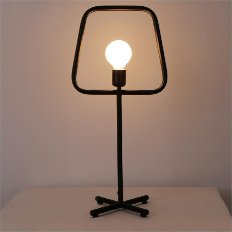 Vintage loft industry creative brief black iron led e27 - Black table lamps for living room ...