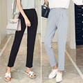 J2FE220#8230 New Women Causal Solid Color Ankle-length Harem Pants Female Fashion Slim Elastic Waisted Elegant Trousers Capris