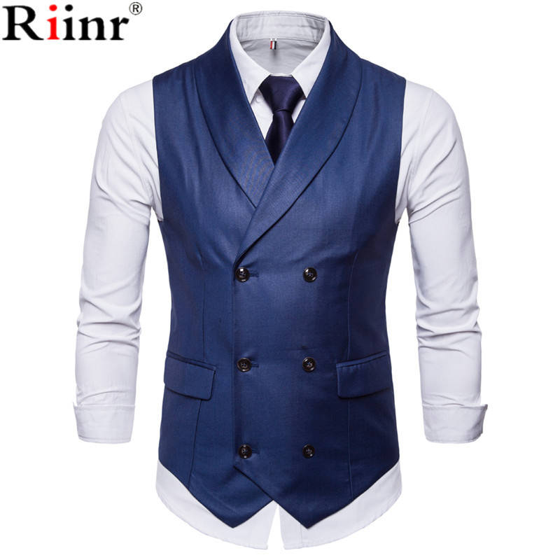 Riinr New Style Double-Breasted Vintage Suit Vests For Men Slim Men Gilet Wedding Waistcoats Colete Homem Sleeveless Dress Vests