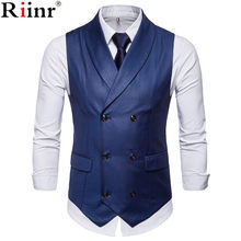 Riinr New Style Double-Breasted Vintage Suit Vests for Men Slim Men Gilet Wedding Waistcoats Colete Homem Sleeveless Dress Vests(China)