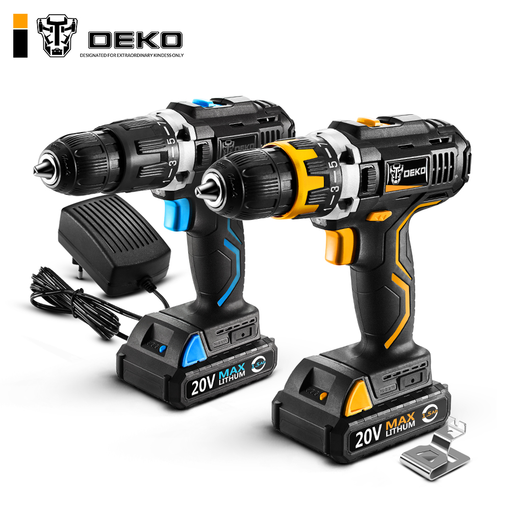 DEKO GCD20DU Series Electric Screwdriver Cordless Drill Impact Drill Power Driver 20V Max DC Lithium Ion Battery 13mm 2 Speed-in Electric Drills from Tools