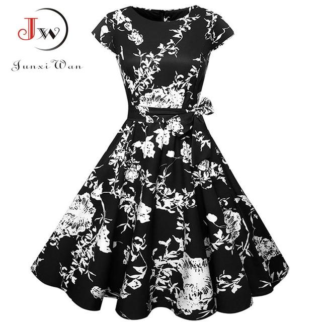 Plus Size Women Summer Dresses Vintage 50s 60s Robe Retro Pin Up Swing Floral Polka Dot Rockabilly Dress Elegant Party Dress 1