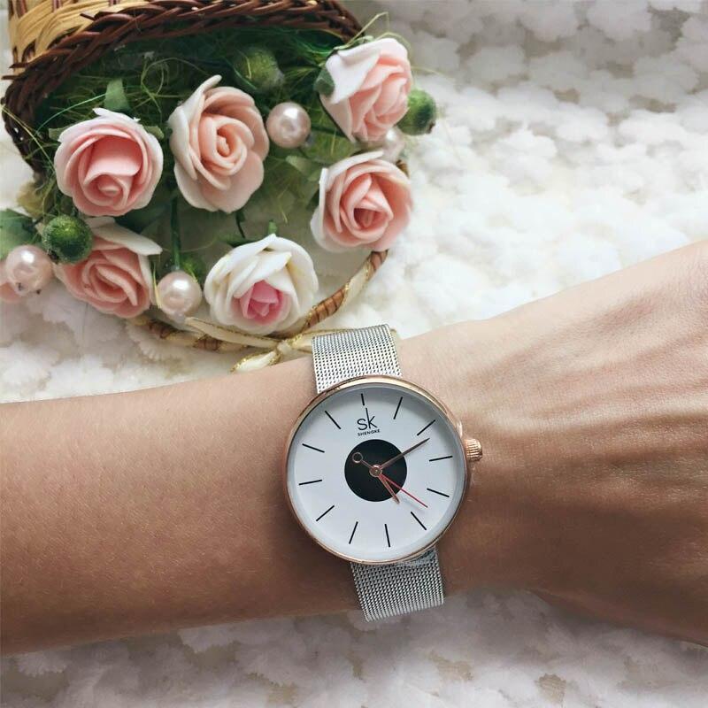 SK 2017 New Women's Bracelet Watches Clock Luxury Brand Quartz Wristwatches Fashion Stainless Steel Watchband Strap Watch Hours 4