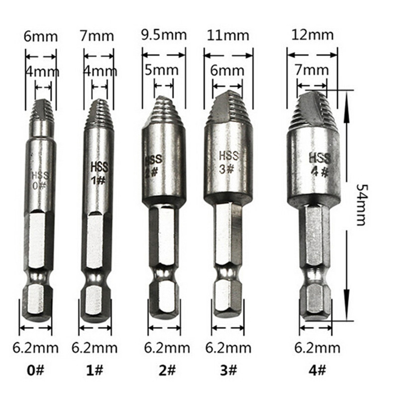 5pcs Hss hex shank drill bit 1/4 6.35mm damaged broken breakage head screw bolts extrat extrator remove power hand tool sets