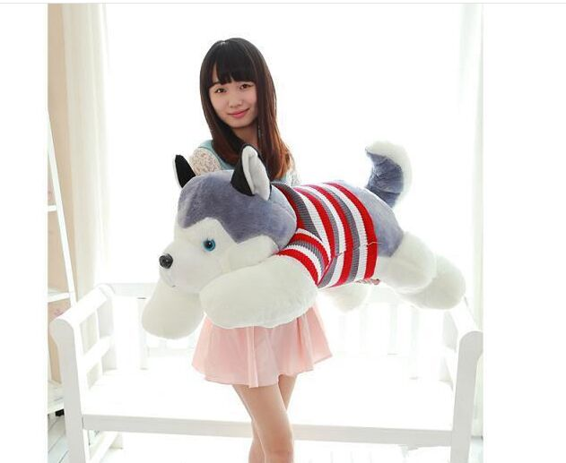 fillings toy , large about 100cm sweater husky dog plush toy throw pillow toy birthday gift b4902 stripes sweater design prone husky largest 165cm gray husky dog plush toy sleeping pillow surprised christmas gift h907