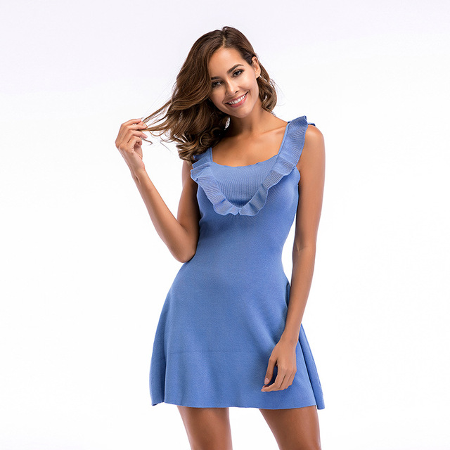 SISHION Phụ Nữ Mùa Hè Ăn Mặc Ruffles Màu Xanh Đen Rượu Vang Đỏ Không Tay Sexy Áo Len 5708 dệt kim Mini Dresses robe sexy