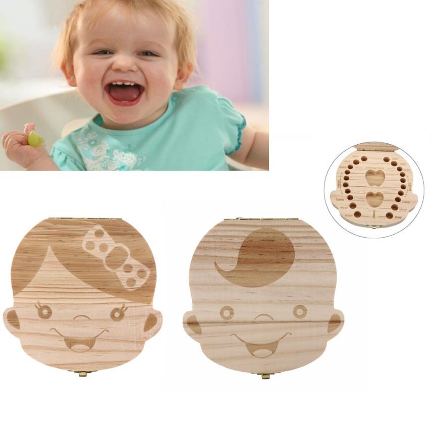 Carton Wooden Baby Tooth Box منظم للأطفال طفل حليب أسنان حفظ صندوق تخزين الخشب لصبي وفتاة الإنجليزية الإسبانية JAN19 f20