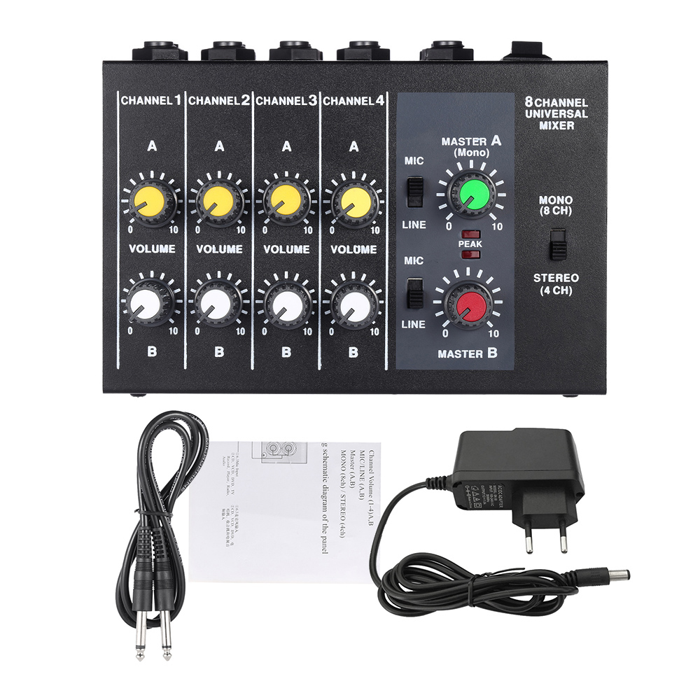 Small Mixing Console Ultra compact Low Noise 8 Channels Mini Audio Sound Mixer Console Mono Stereo