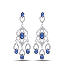 Vivid Dangling Top Grade Princess Cut AAA CZ Chandelier Earrings Women 6 colors ys10190(China)