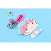 New Trendy Beauty Cute Hello Kitty Key Chain With Mirror Charm Pendant Crystal Purse Bag Keyring
