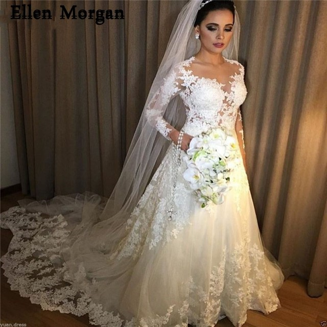 9b83471323 Sexy See Through Long Sleeves Wedding Dresses 2019 Lace Appliques A-line Summer  Spring Garden Ivory Bridal Gowns with Veil