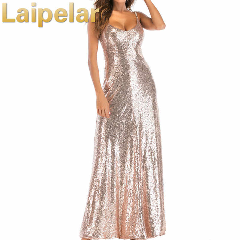 2018 Sexy Women Champagne Sequins Dress Woman Backless Floor Length Long  Luxury Club Party Dresses Maxi b91ad0f5e53b