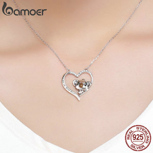 Image 5 - BAMOER High Quality Real 925 Sterling Silver Lovely Koala in Heart Pendant Necklaces for Women Sterling Silver Jewelry SCN256