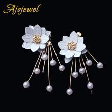 Ajojewel Simulated Pearl Elegant Women Earrings Flower Tassel Jewelry Front Back Design Drop Earrings 2018